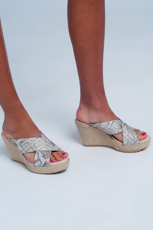 cross strap flat sandals in leopard