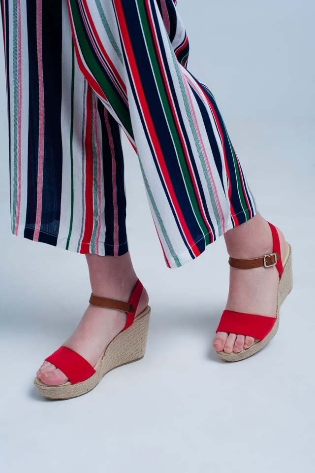 espadrille sandal with buckle in red