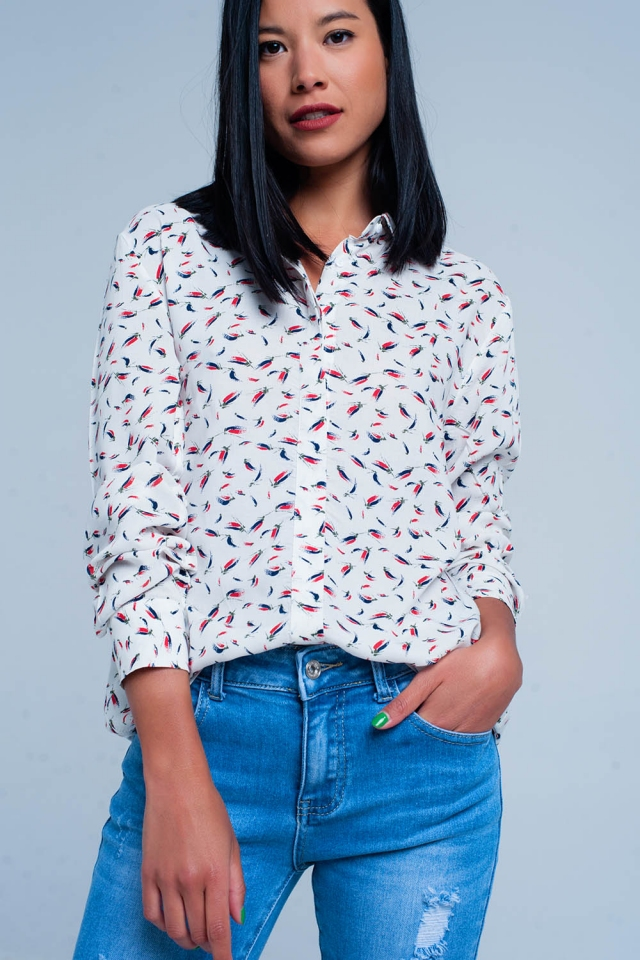 Blouse with print in white