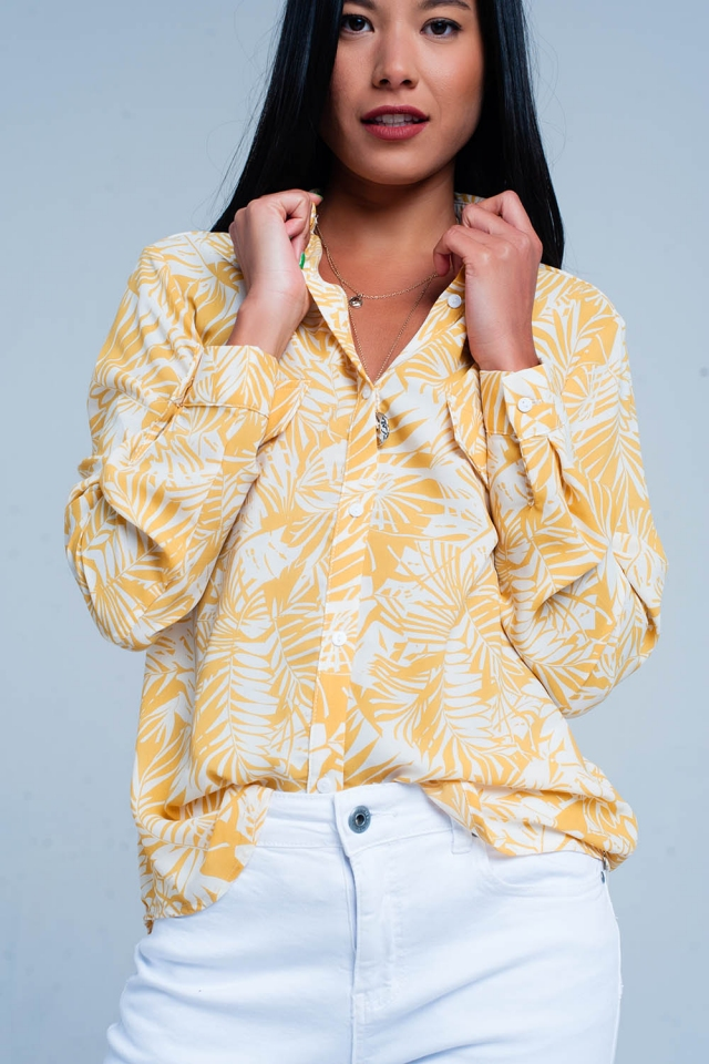 White blouse with mustard floral print