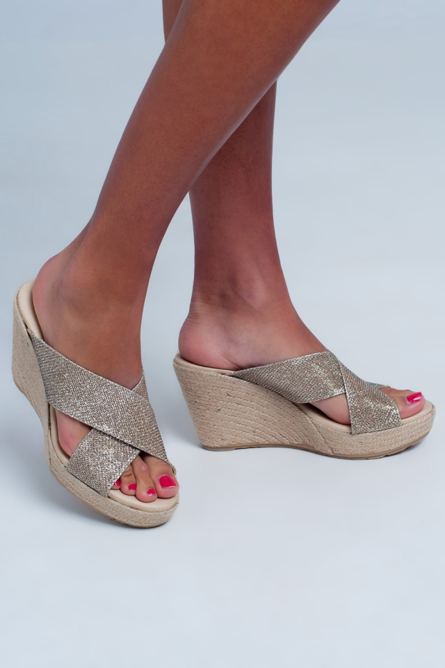 High Cross strap flat sandals in gold colour
