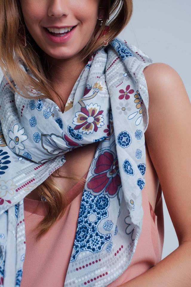 Schal mit Blumenmuster grau