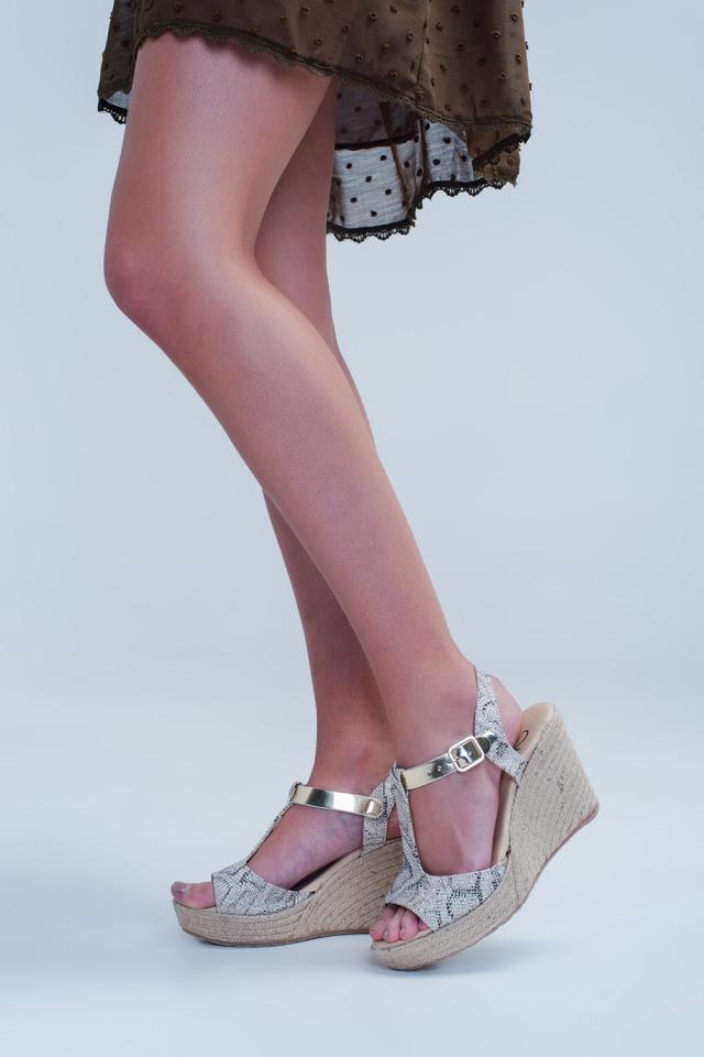 Beige espadrille sandals with leopard print