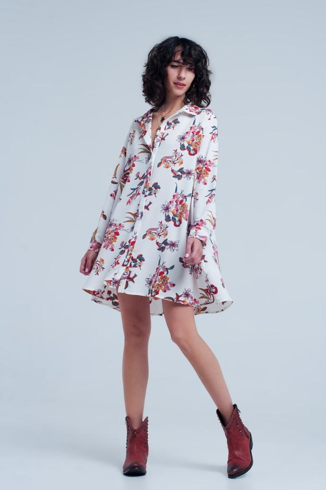 Weisse Bluse Kleid mit Blumenmuster