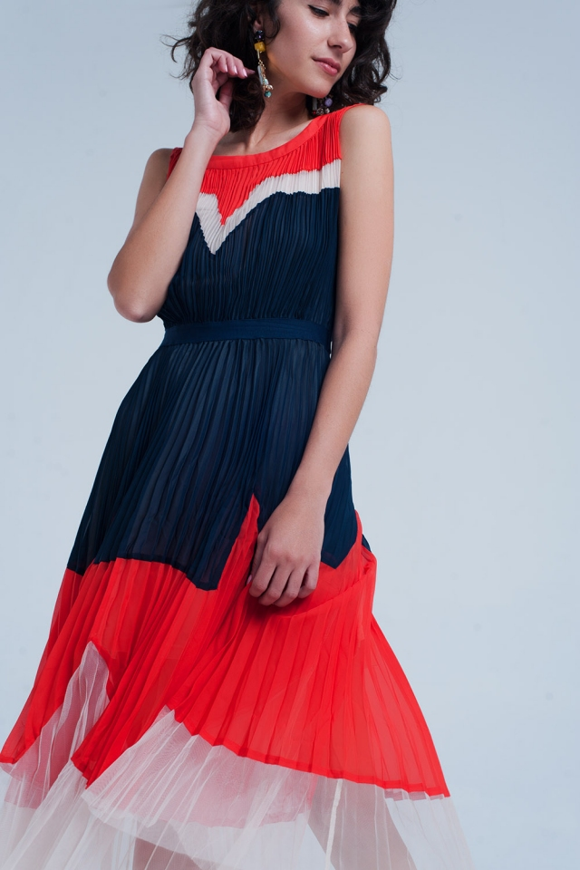 Pleated midi skater navy dress with contrast panel