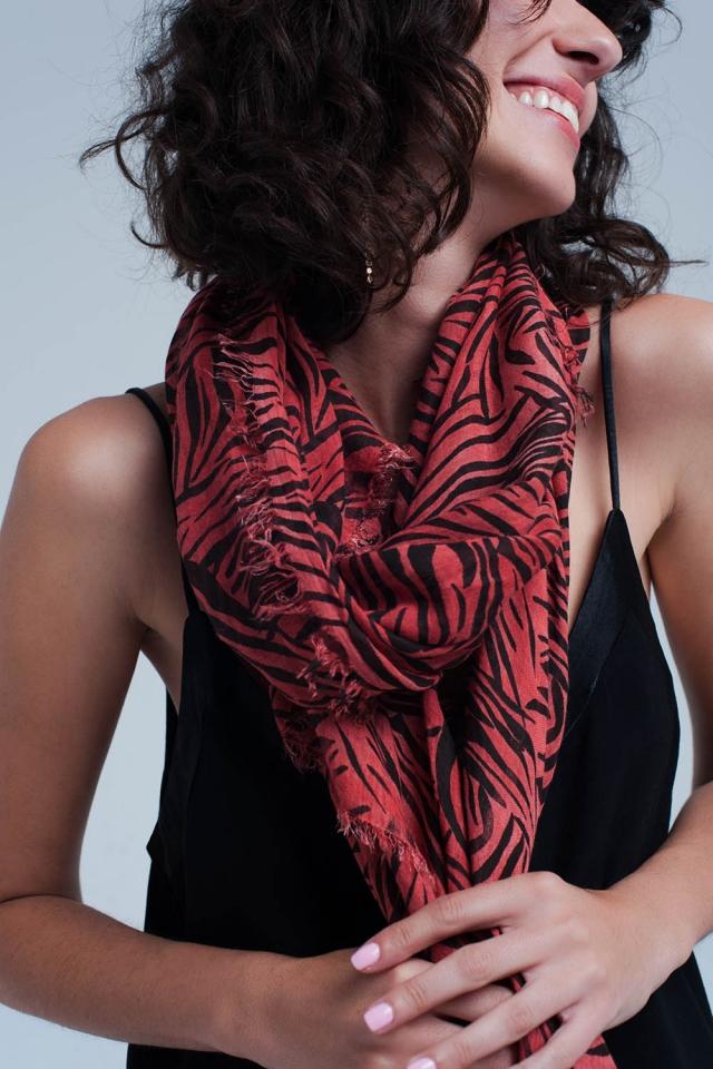 Red scarf with zebra print