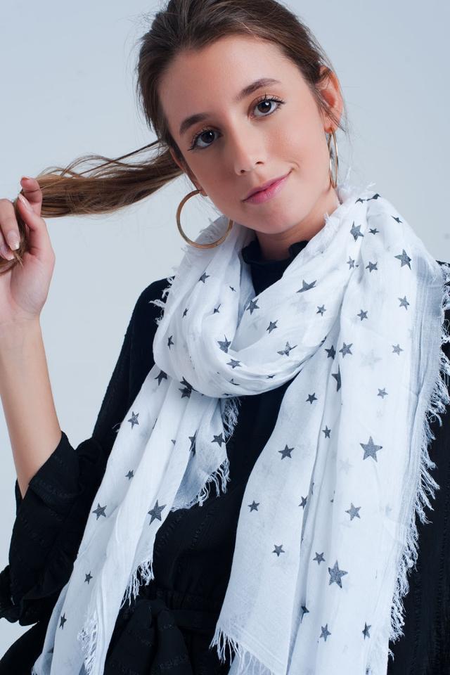 Weisser Schal mit Sternen Print