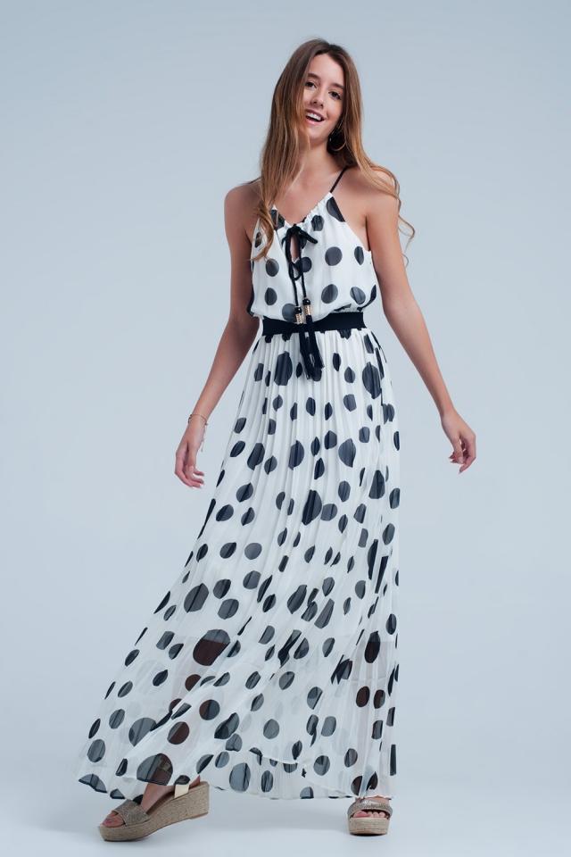 Cream Kleid mit schwarzen Tupfen