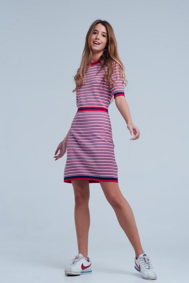 Red blue striped midi dress