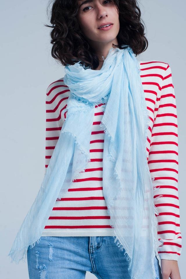 Thin light blue scarf