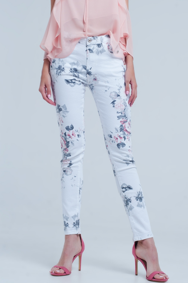 White jeans with pastel floral print