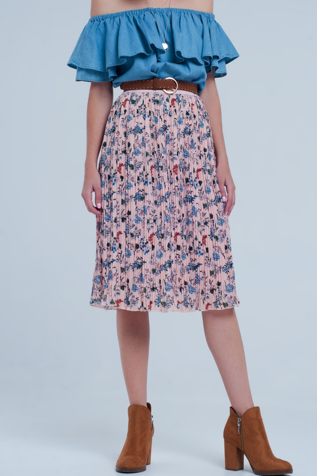 pink skirt with flower print