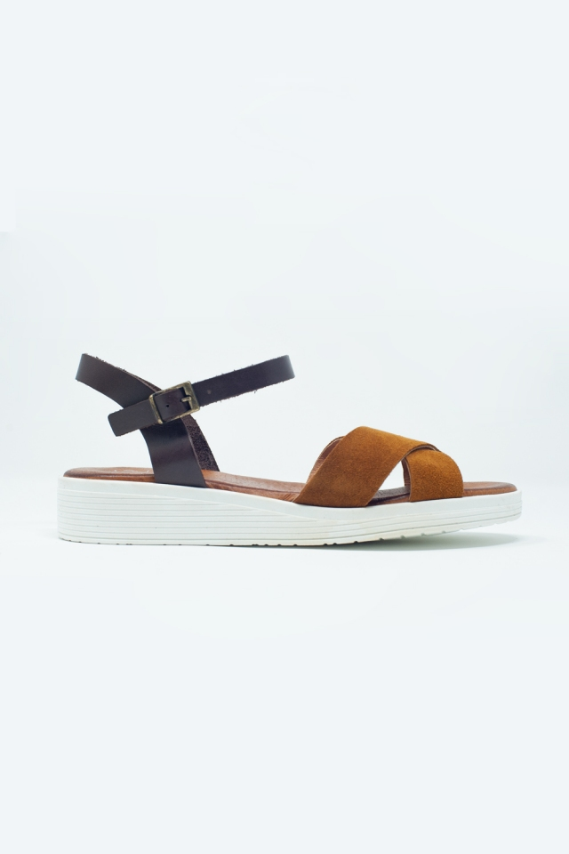 Taupe coloured sandals with ankle strap