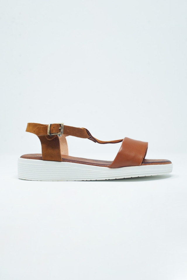 Camel coloured sandals with multiple straps