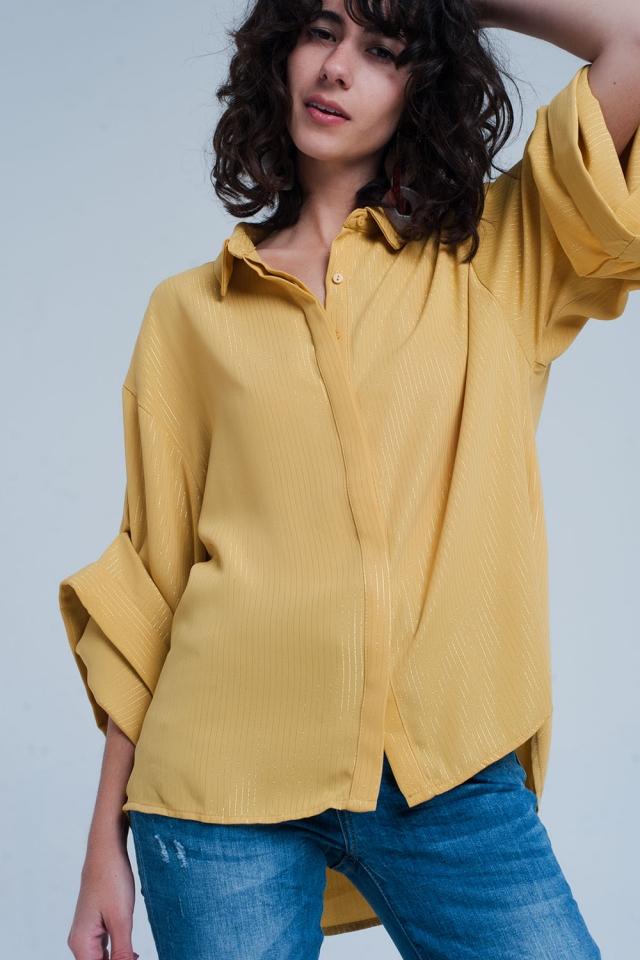Gelbes, übergroßes Shirt mit Lurex-Details