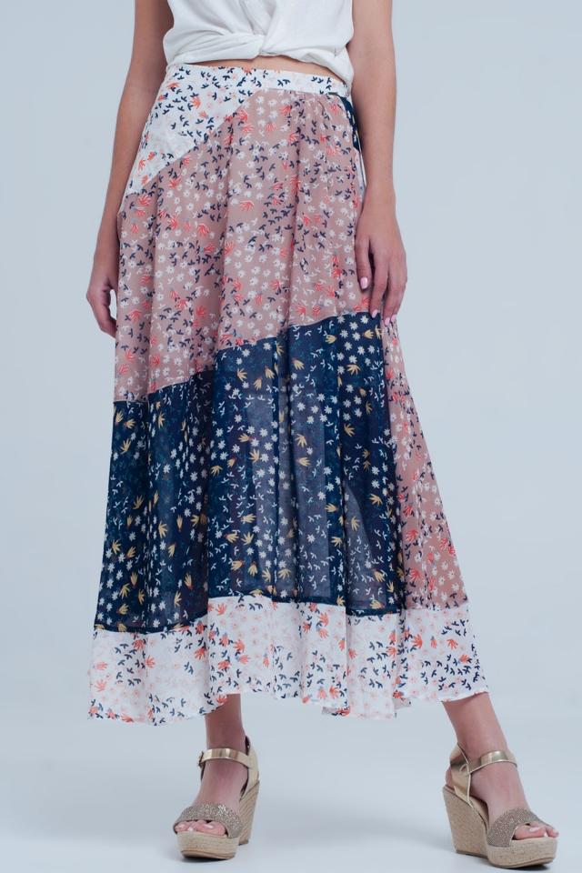 Blue floral meadow bias cut midi skirt