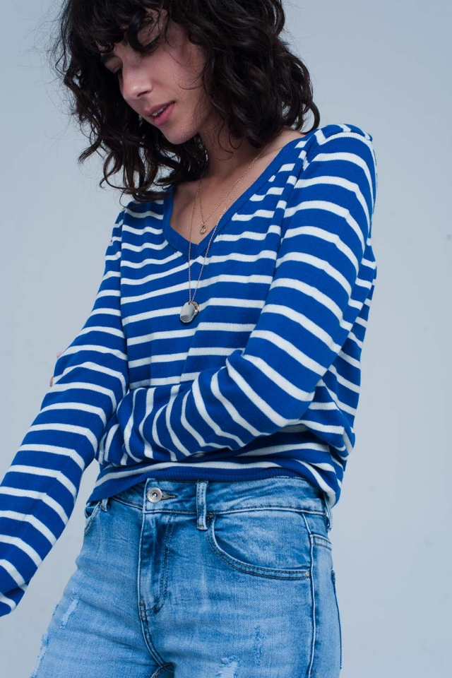 Wit Blauw Gestreepte Trui.Sweaters Q2 Shop Online Clothing For Women