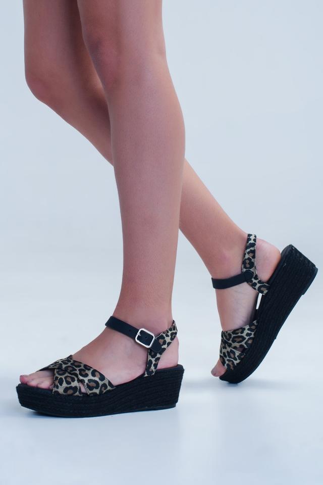Black espadrille sandals with leopard print