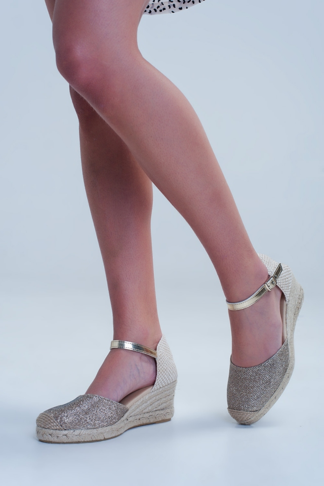 Golden espadrille wedges with ankle strap