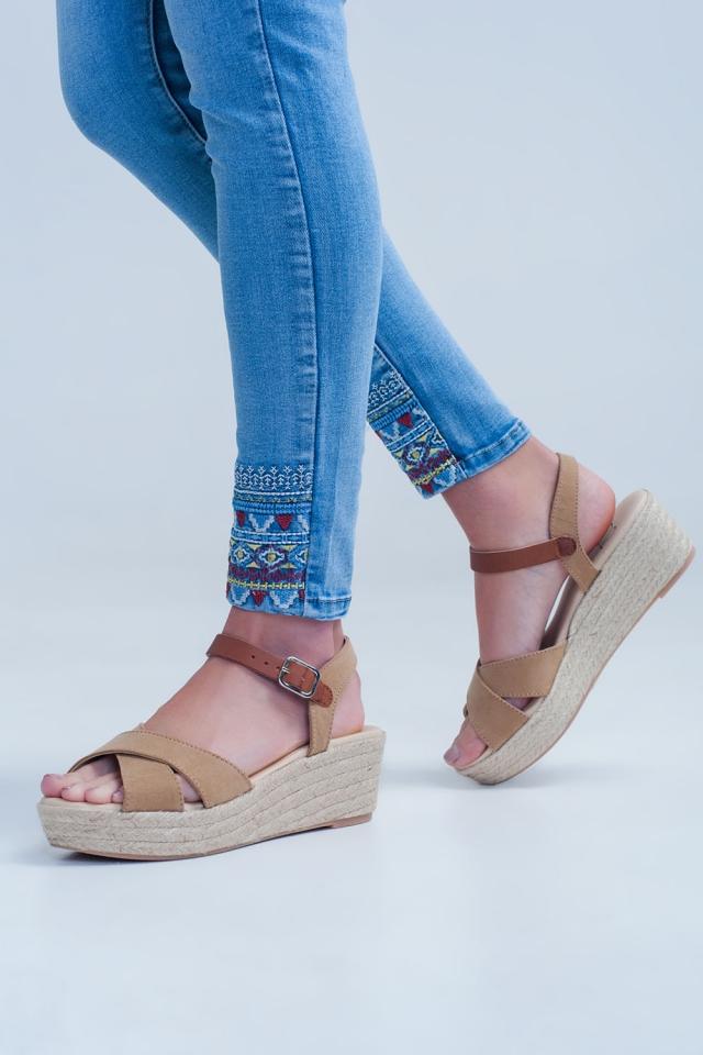 Creme square toe wedge espadrilles
