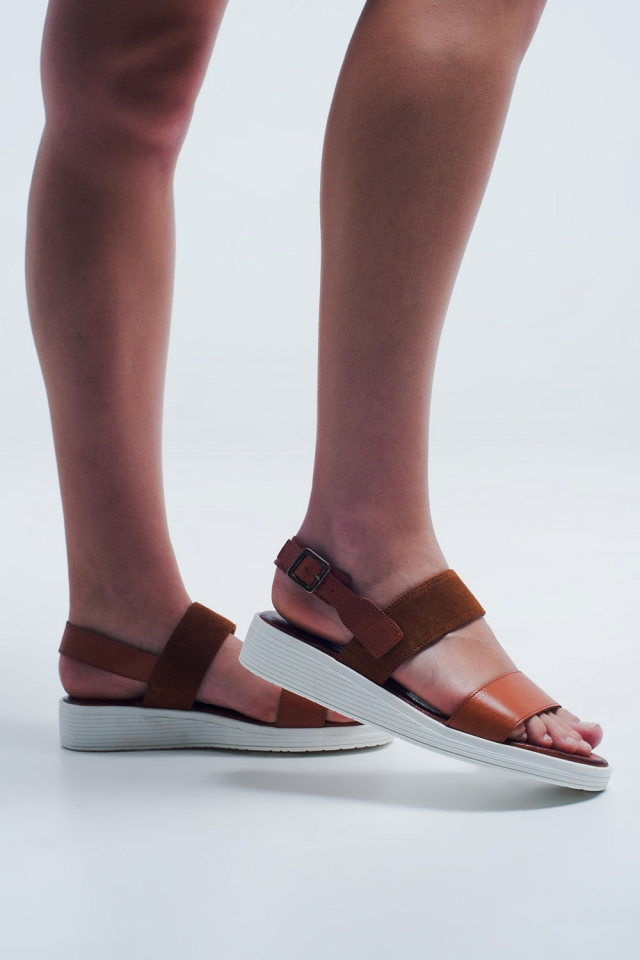 Camel coloured sandals with ankle strap