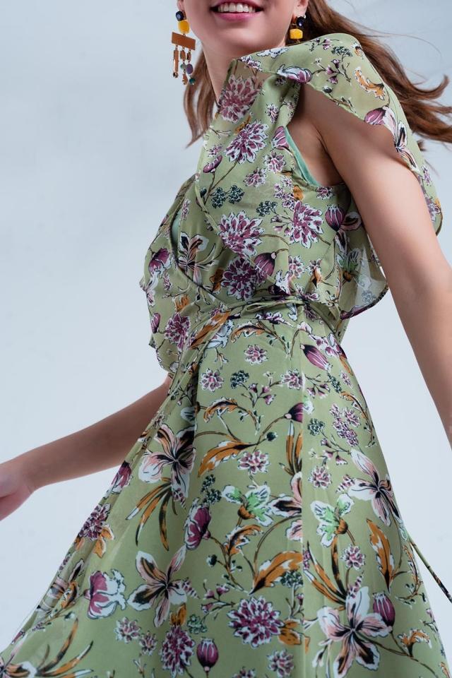 Green wrap dress with flower print