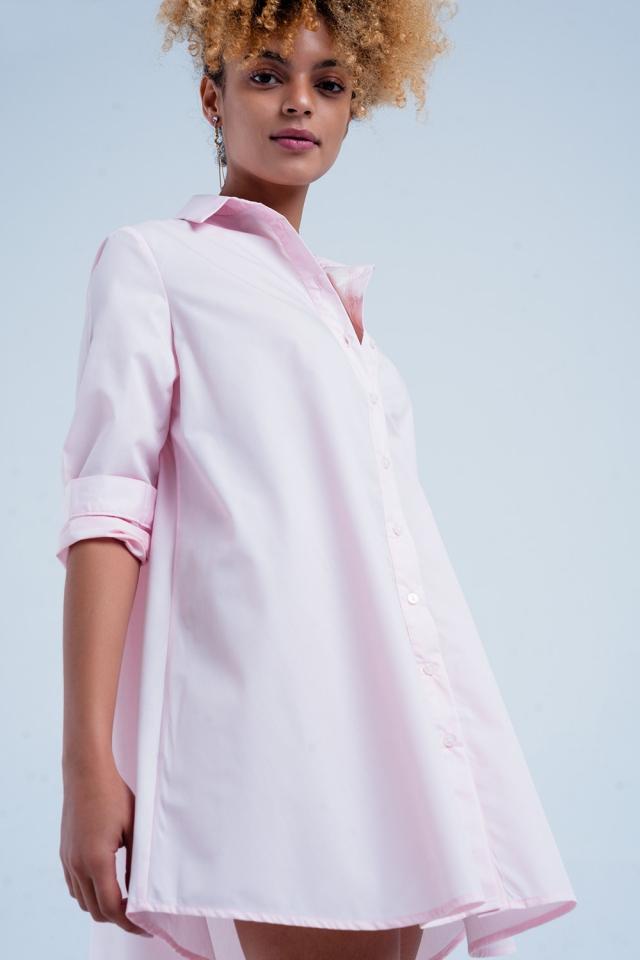 Rosa Popline Langes Hemd-Kleid