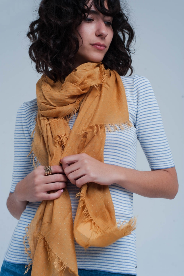 Mustard scarf with golden dots