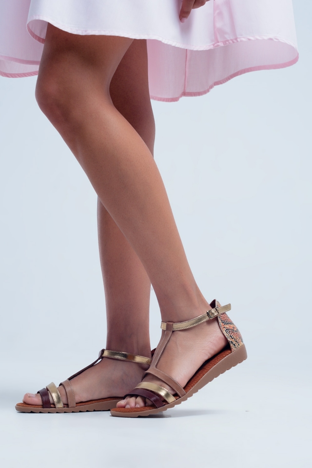 Beige sandals with multiple straps