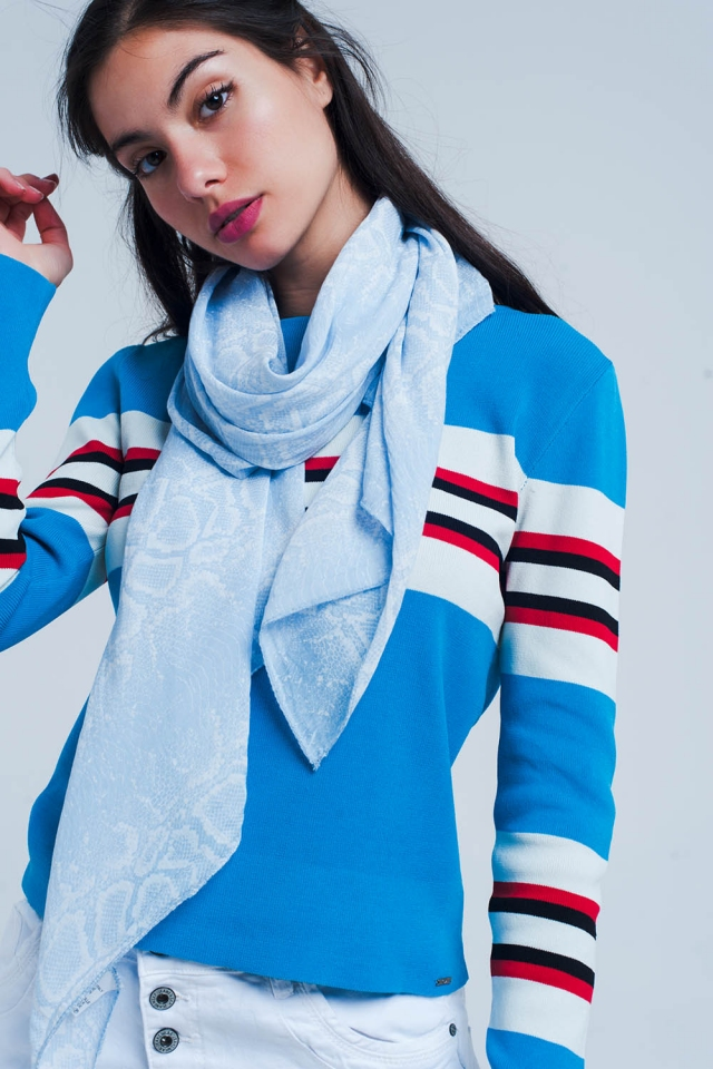 Blaue Schal mit Schlangen Print