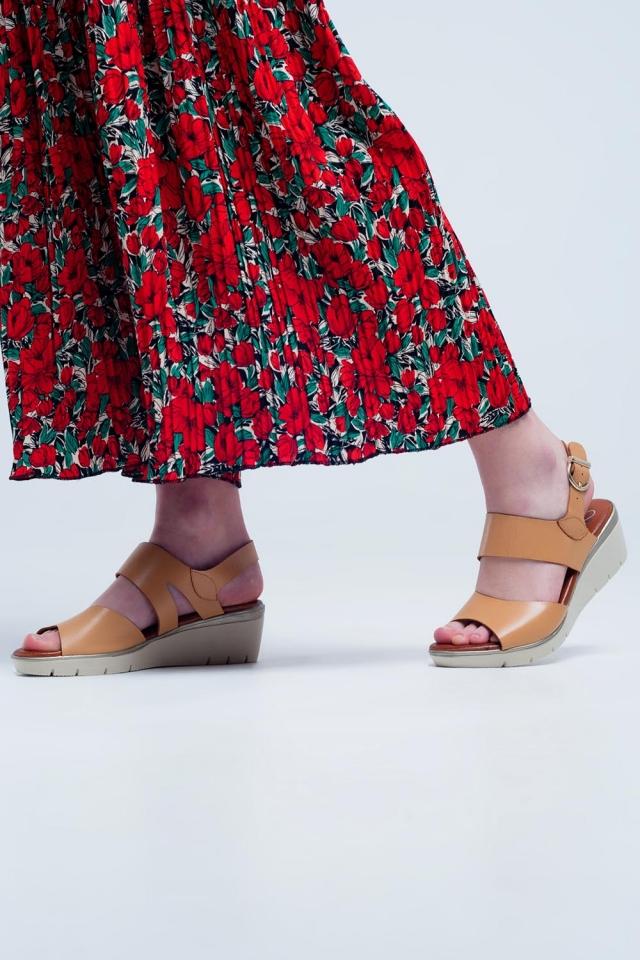 Beige farbigen Keil Sandalen