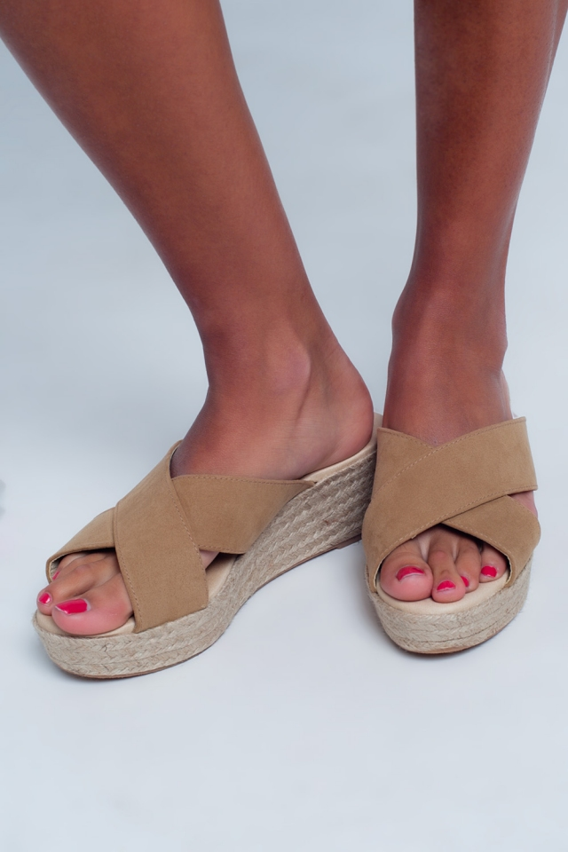 Cream espadrille wedges with crossed strap