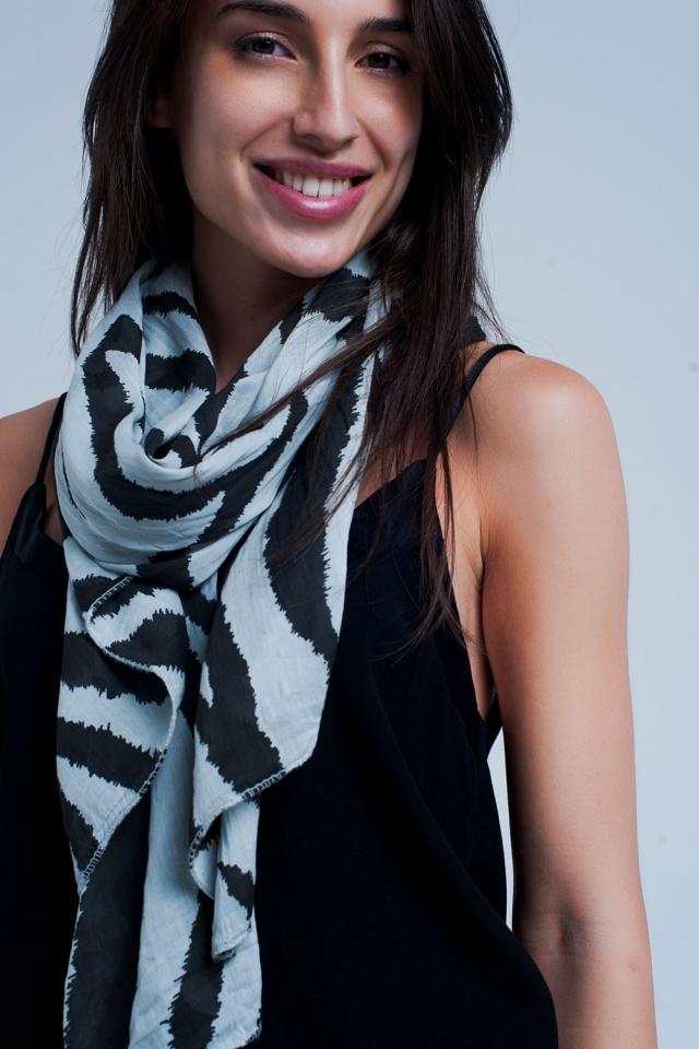 Grey scarf with zebra print