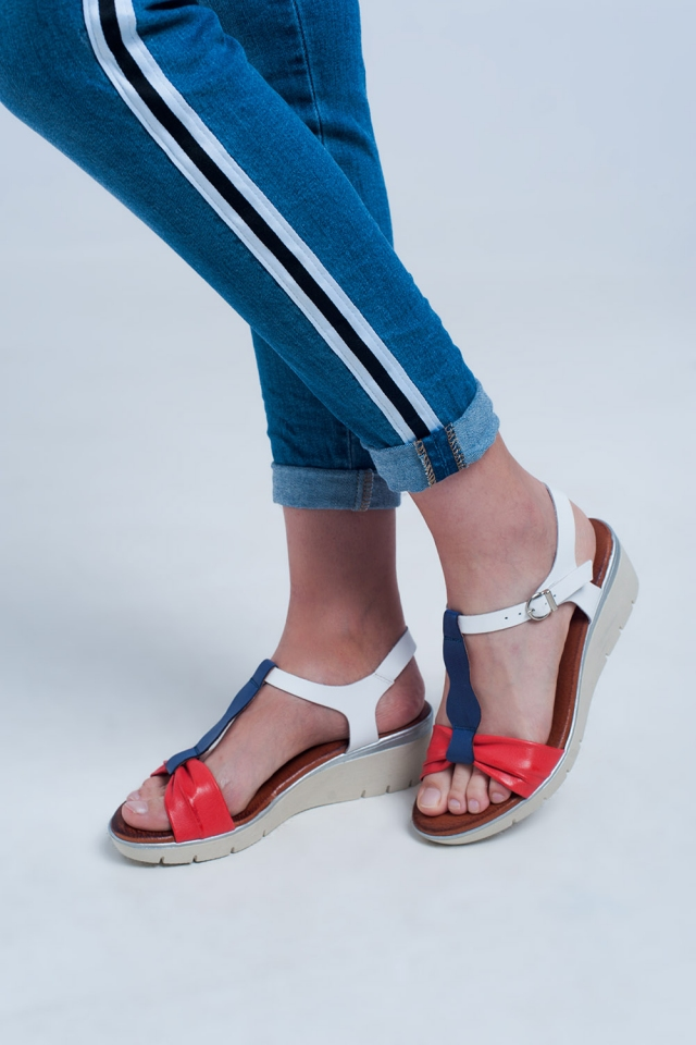 Red-blue coloured wedge sandals
