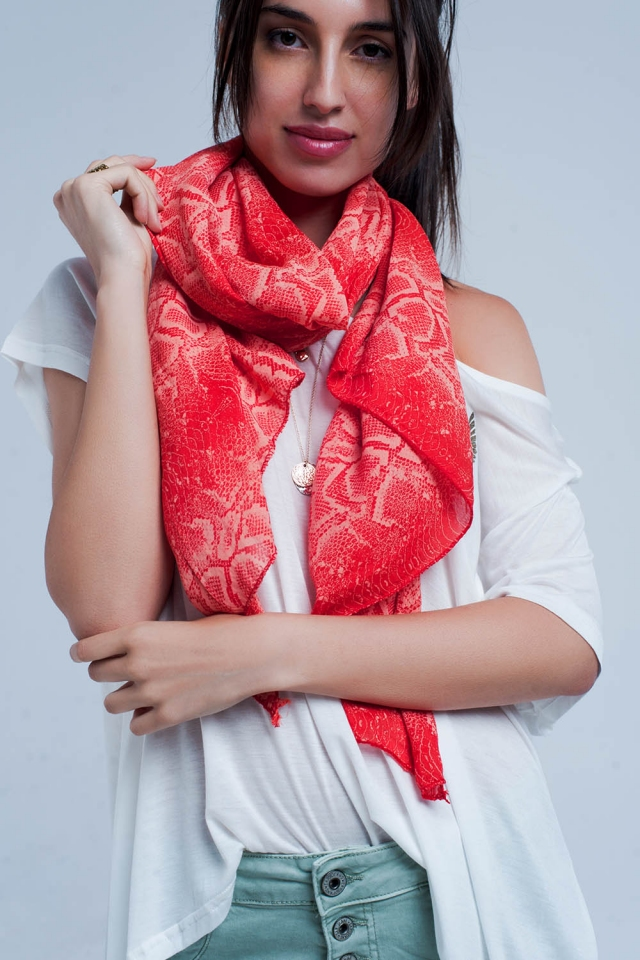Red scarf with snake print