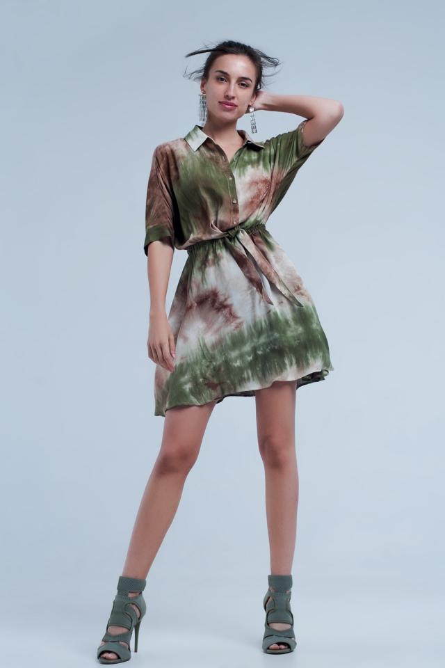 Khaki geknöpftes kurzes Kleid