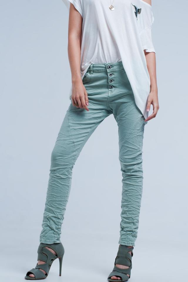 Boyfriend-Jeans grüne Farbe mit tiefer Taille