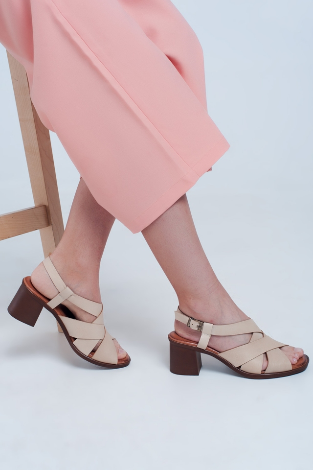 Cross strap block heel sandal in beige
