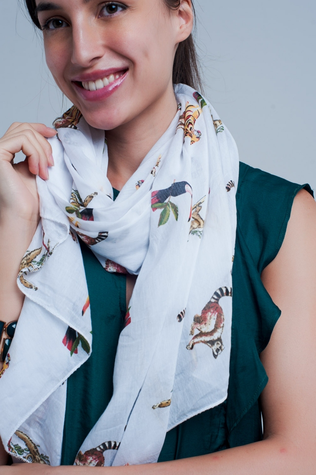 White scarf with animal print