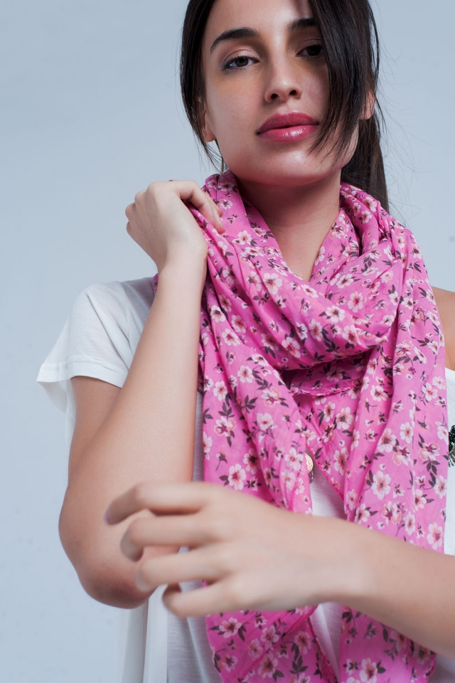 Pink scarf with floral print