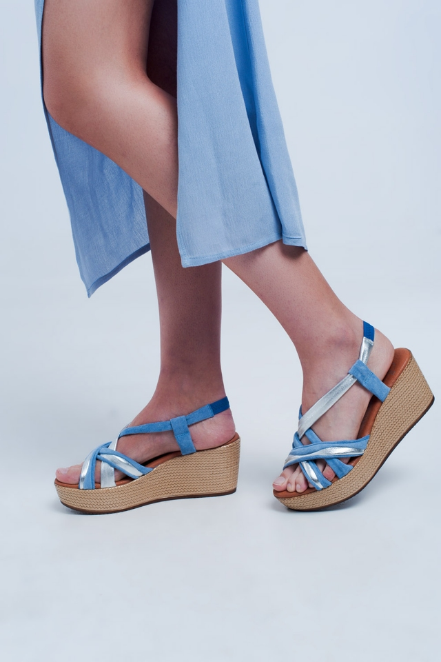 Espadrille platform sandals in blue