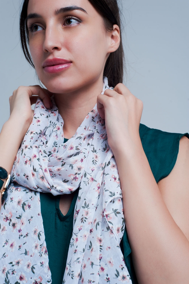 White scarf with floral print