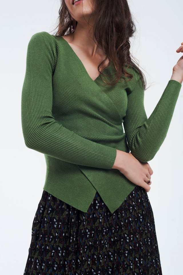 Green ribbed wrap sweater with v-neck