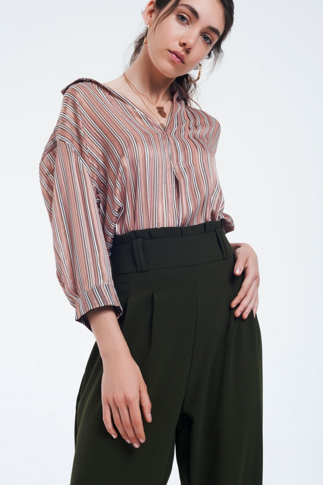 Pink striped blouse with glitter lines