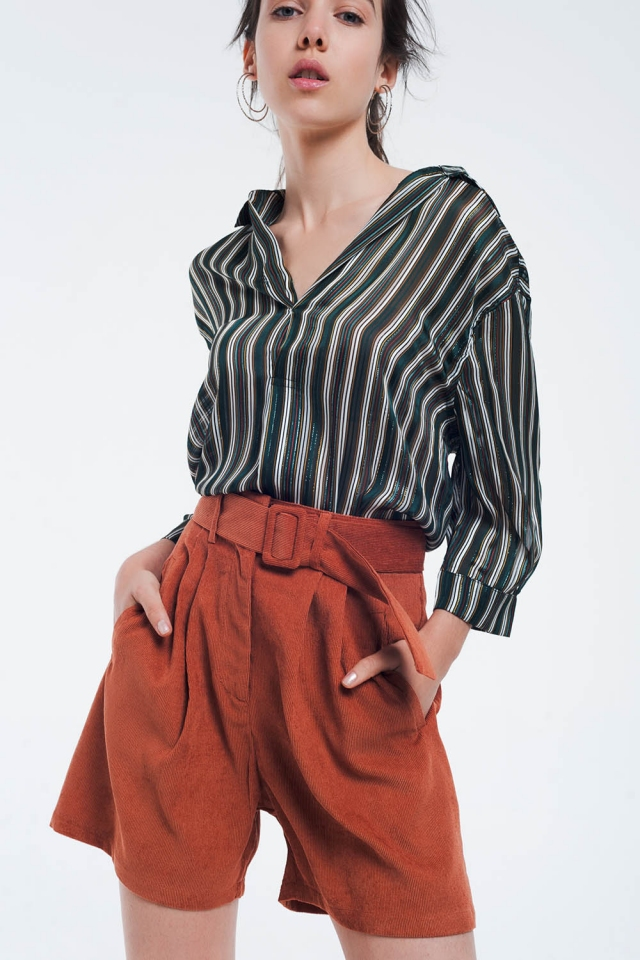 Green striped blouse with glitter lines