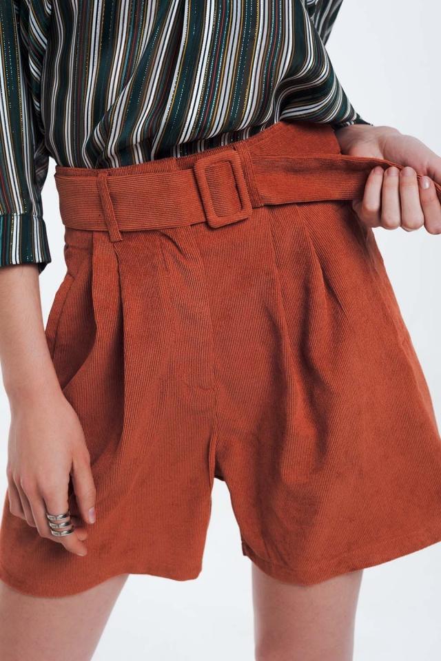 Orange ribbed shorts with belt