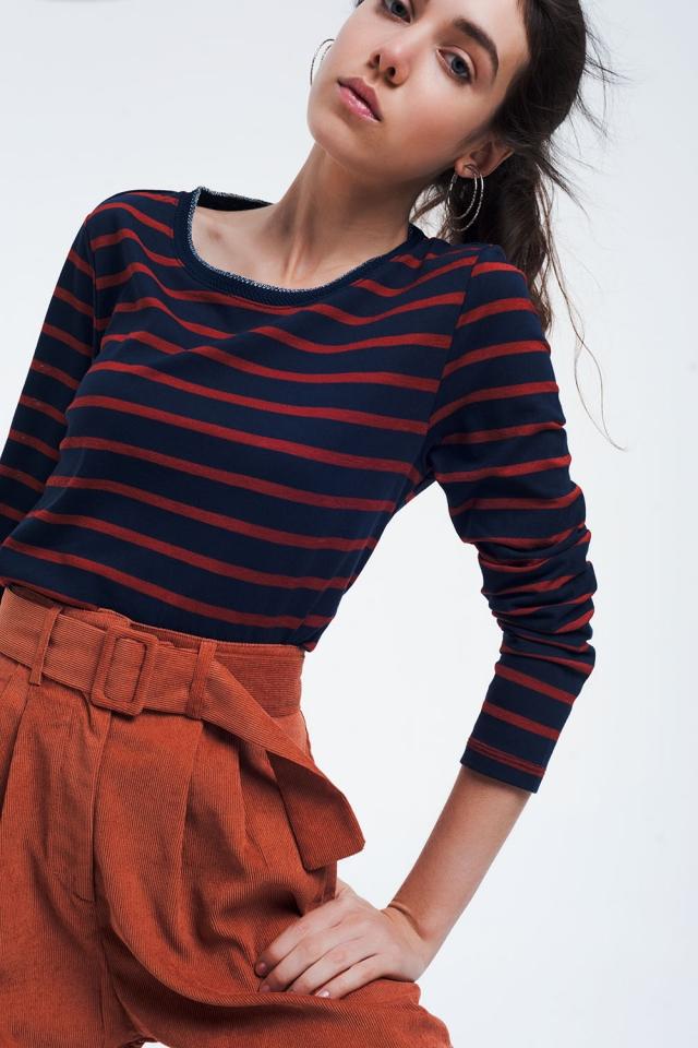 Dunkelblaues Basic-Shirt mit Streifen