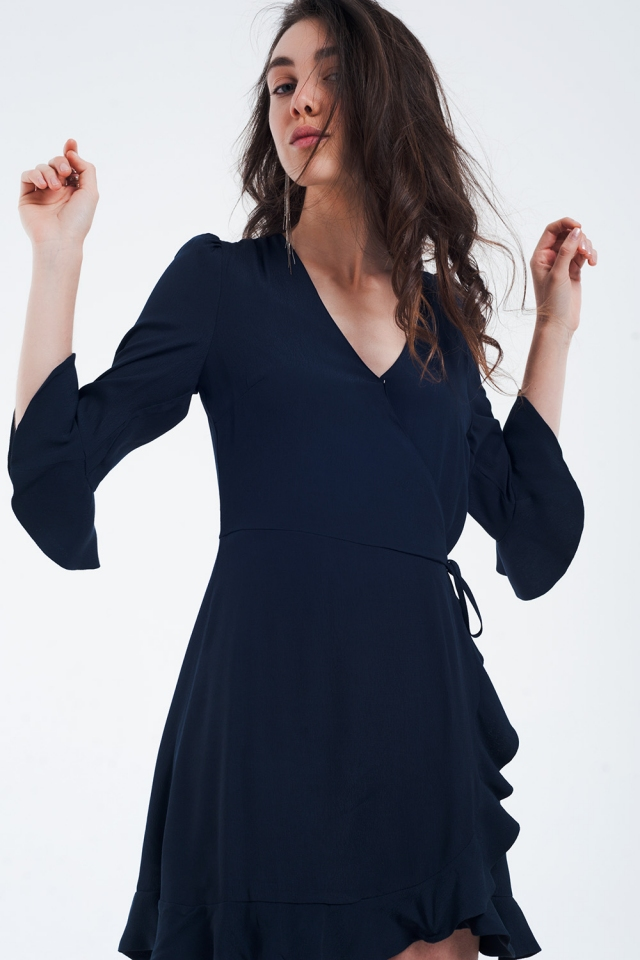 Wrap dress in navy color