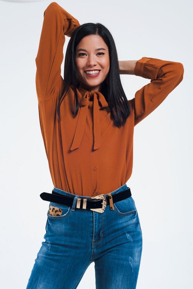 Lace detail button through shirt in orange