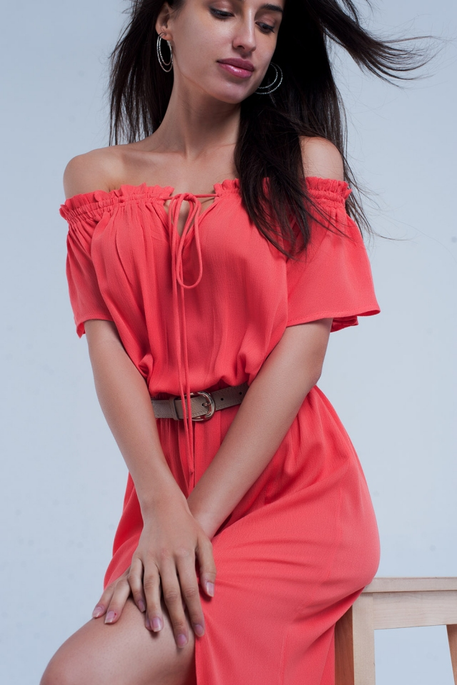 Long coral dress with a split